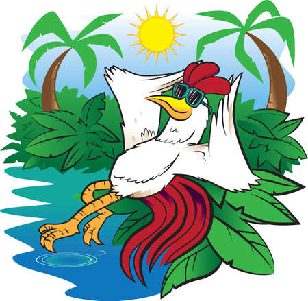 Rooster in Paradise Vector