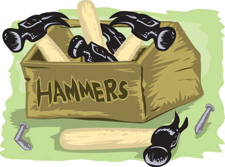Box of Hammers Stock Vector - 10444272