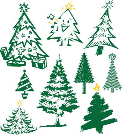 Christmas Tree Collection Vector