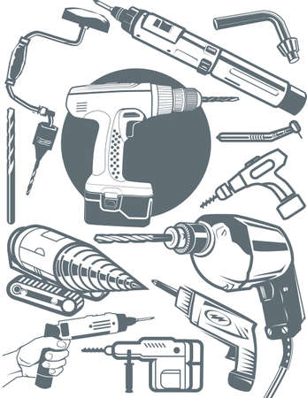 drilling machine: Drill Collection Illustration