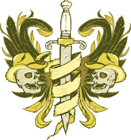 カウボーイの紋章  イラスト・ベクター素材