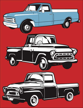 vintage truck: Vintage Pickups Illustration