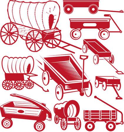 carriage: Carro raccolta Vettoriali