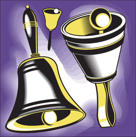 Clip art set of hand bell instruments Иллюстрация