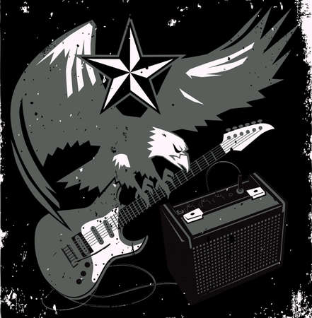 Grungy Guitar Eagle Vector