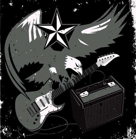 Grungy Guitar Eagle Vector