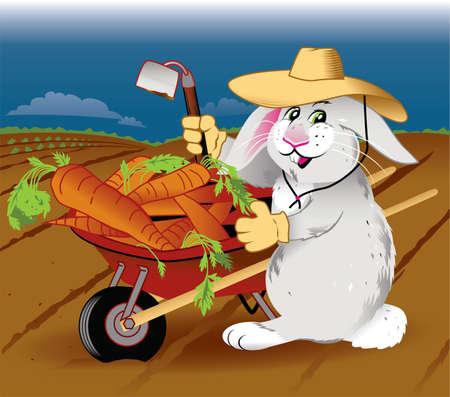 wheelbarrow: Gardening Rabbit Illustration