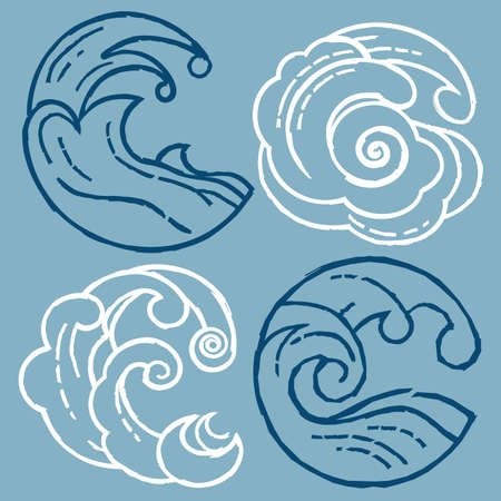 Woodcut Waves Иллюстрация