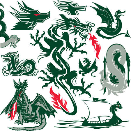 Dragon Collection Stock Vector - 12379732