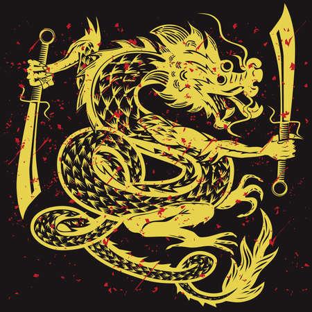 japanese dragon: Gold Dancing Dragon Illustration