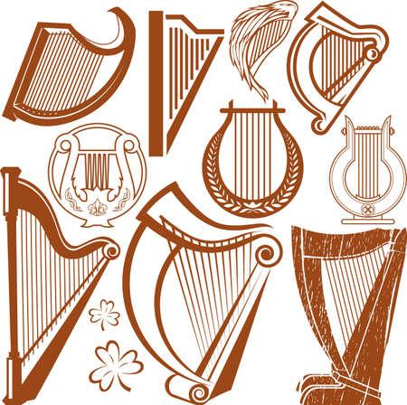 Colección Arpa Ilustración de vector