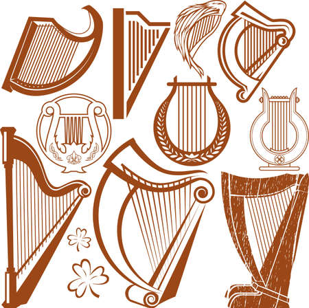 Harp Collection Stock Vector - 12379725
