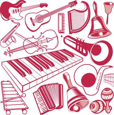 accord�on: Collection d'instruments de musique Illustration