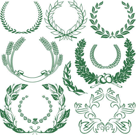 Laurel & Wreath Collection Stock Vector - 12379734