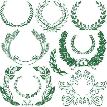Laurel & Wreath Collection Stock Vector - 12379734