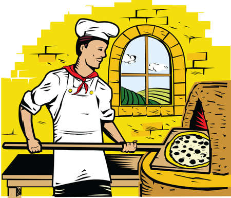 pepperoni: Pizza Chef Illustration