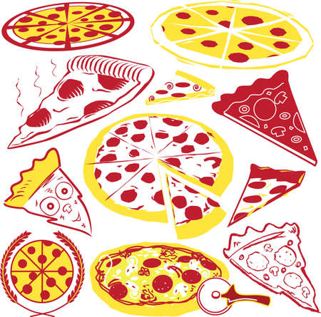pepperoni pizza: Pizza Collection Illustration