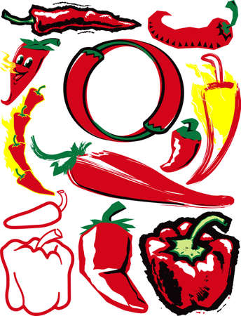 Red Pepper Collection Vector