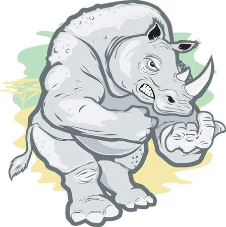 nashorn: Wütend Rhino Illustration