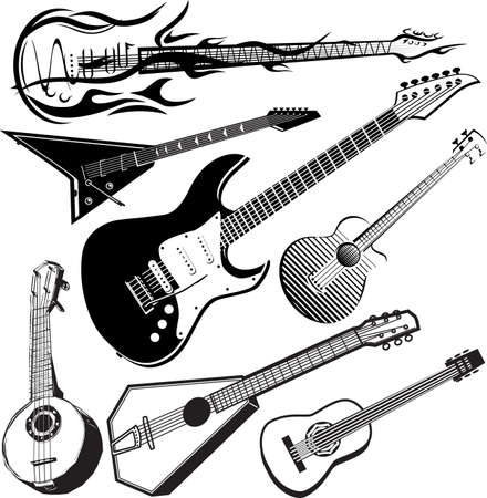 xilografia: Guitarra Colección Vectores