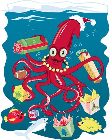 Santa Squid Vector