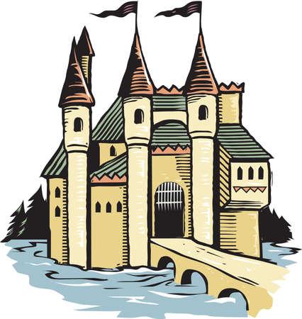 Château de gravure sur bois