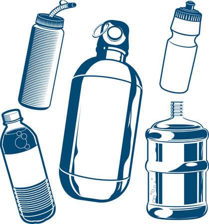 botella de plastico: Colecci�n Agua Botella Vectores
