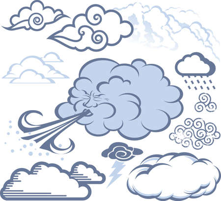 wind storm: Cloud Collection Illustration