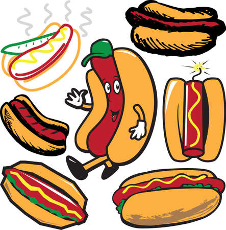 hot dog: Hot Dog Collection Illustration