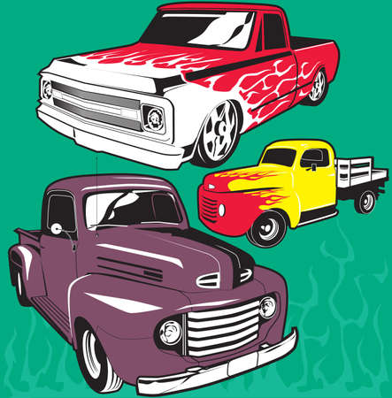 Hot Rod Trucks Vector