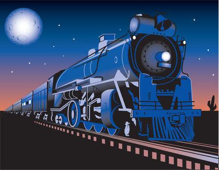 locomotora: Crepúsculo de tren Vectores