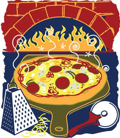 Brick Oven Pizza Illusztráció