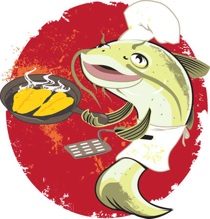 Catfish Fry Cook Vector