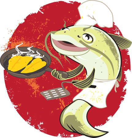 Catfish Fry Cook Vettoriali