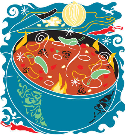 soup pot: Chili Soup Illustration