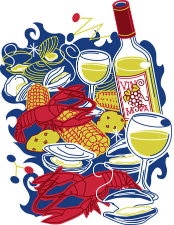 Festive Clam Bake Vector