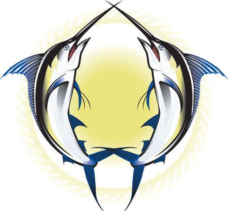 pez espada: Doble Marlins Vectores