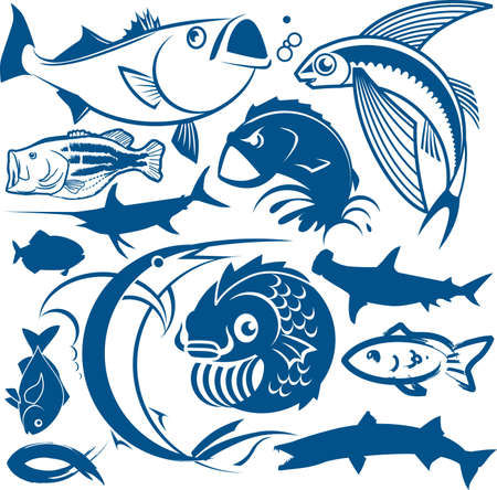 outline fish: Fish Collection Illustration