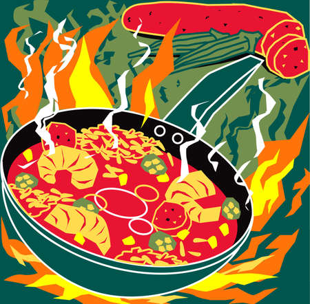 sausage pot: Flaming Jambalaya