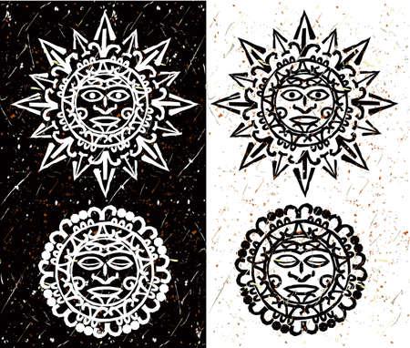 アステカの太陽と月  イラスト・ベクター素材