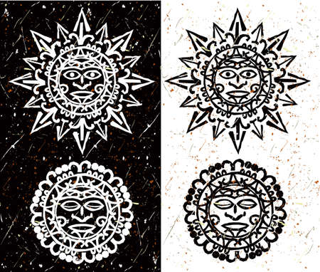 sun: Aztec Sun and Moon Illustration