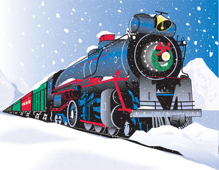 snow storm: Christmas Train Illustration