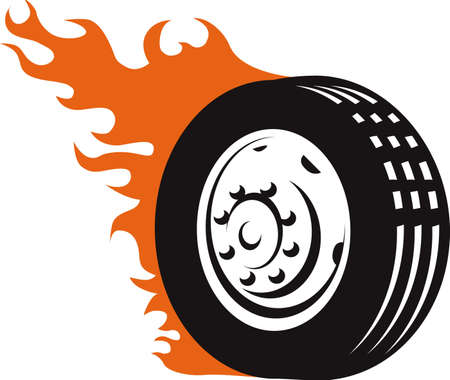 tyre tread: Flaming Tire