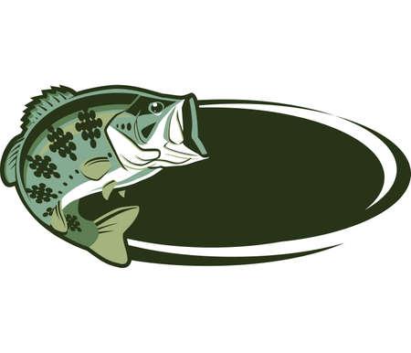 logo poisson: Ovale Game Fish Illustration