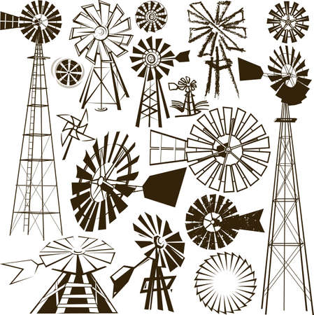 Windmill Collection Stock Vector - 12891071