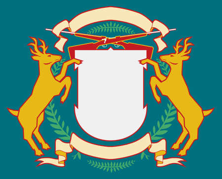 deer buck: Hunting Lodge Coat of Arms Illustration