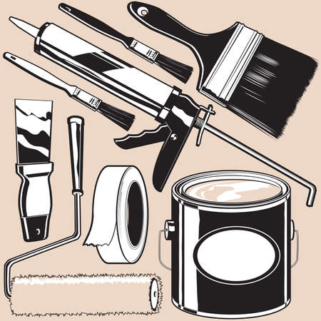 paint cans: Painting Supplies Illustration