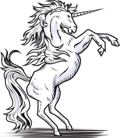 Rearing Unicorn  イラスト・ベクター素材