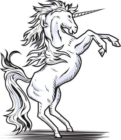 rampant: Rearing Unicorn Illustration