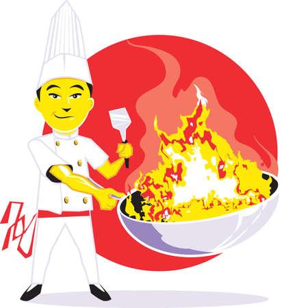 鍋シェフ  イラスト・ベクター素材